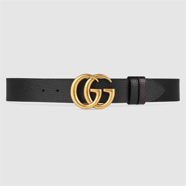 Reversible leather belt with Double G buckle