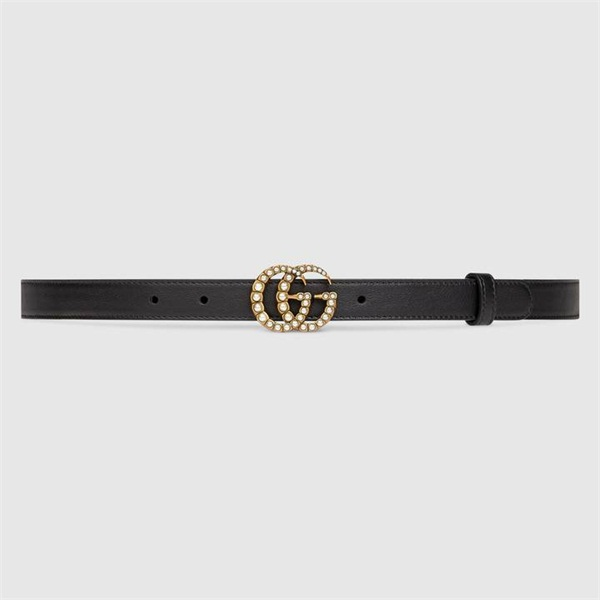 Leather belt with pearl Double G buckle