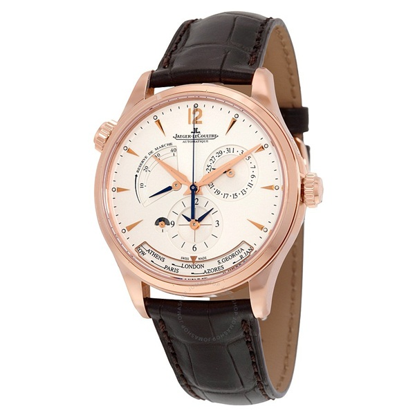 Master Control Geographic Automatic Silver Dial 18kt Pink Gold Men s Watch