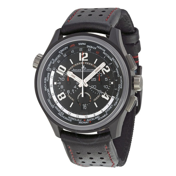 Amvox Worldtime Automatic Chronograph Black Dial Black Leather Men s Watch