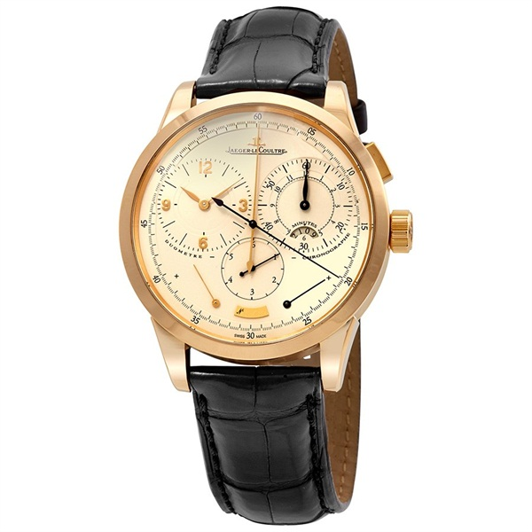 Duometre Cream Dial 18kt Yellow Gold Black Alligator Leather Men s Watch